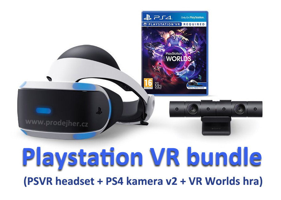 Playstation VR v2 + Playstation 4 kamera v2 + VR Worlds PS4 hra