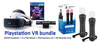 Sony Playstation VR v2 + 2x Move ovladač + Playstation 4 kamera v2 + VR Worlds PS4 hra