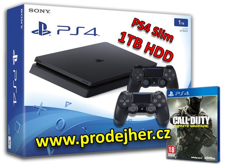 Sony Playstation 4 Slim 1000 GB + hra Call of Duty Infinite Warfare + 2 ks Dualshock 4 ovladače