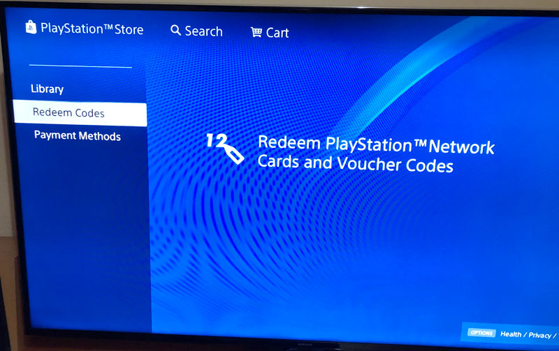 uplatnit kód do playstation store (reedem codes)
